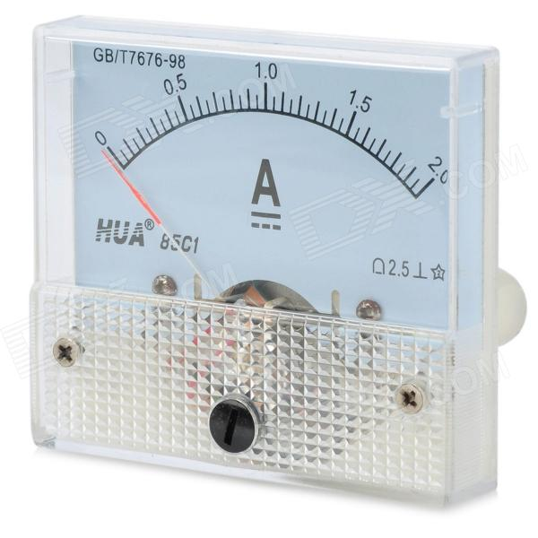 DC 0~2A Square Panel Mounting Analog Amp Current Meter Ammeter - White