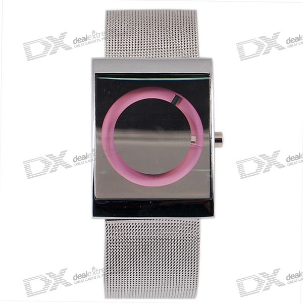Stylish Silver Watch (Pink Back)