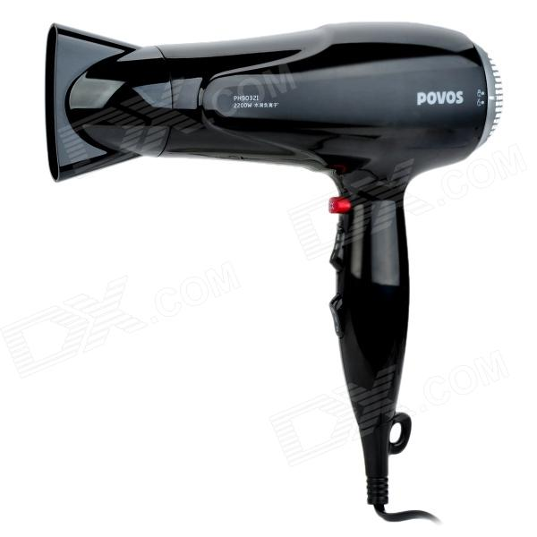 POVOS PH9032I 3-Mode Electric 2200W Hair Dryer - Black (2-Flat-Pin Plug)