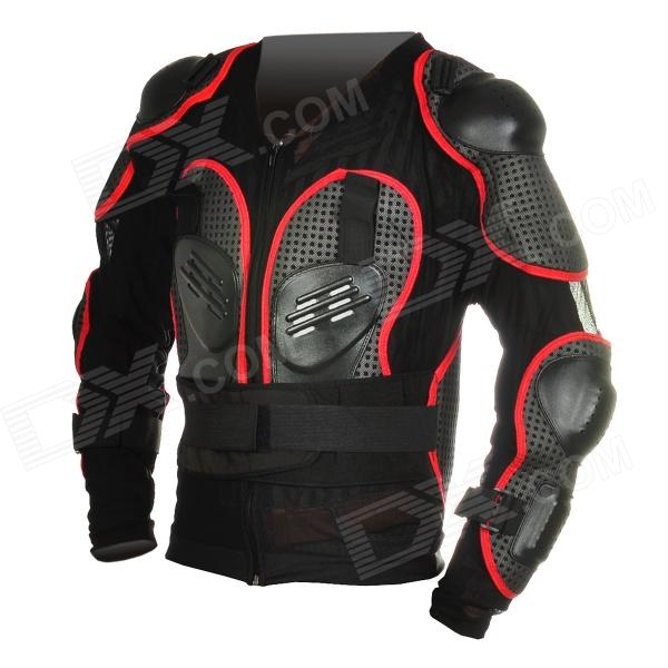 Fashion Protective Motorcycle Riding Race Armor w/ Square Hole - Black + Grey + Red (XXL Size)