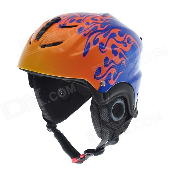 MOON MS86 Large Flame Pattern Outdoor Skiing Helmet for Kids - Orange + Blue (Size S)
