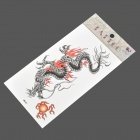 HM465 Dragon and Sun Pattern Tattoo Paper Sticker - Black + Red