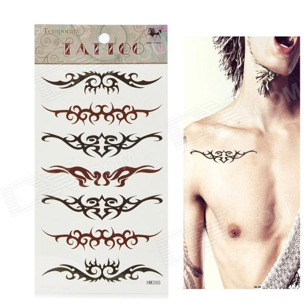 HM395 Abstract Wing Pattern Tattoo Paper Sticker - Black + Brown