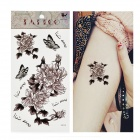 HM350 Peony Pattern Tattoo Paper Sticker - Grey + Black