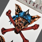 HM239 Wolf Head and Bones Pattern Tattoo Paper Sticker - Brown + Blue