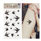 HM520 Swallow Pattern Tattoo Paper Sticker - Black