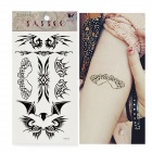 HM429 Wing Pattern Tattoo Paper Sticker - Black