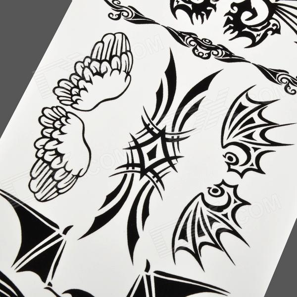 Hm429 wing pattern tattoo paper sticker black free for Printable tattoo paper