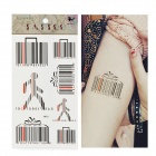 HM521 Bar Code Pattern Tattoo Paper Sticker - Black