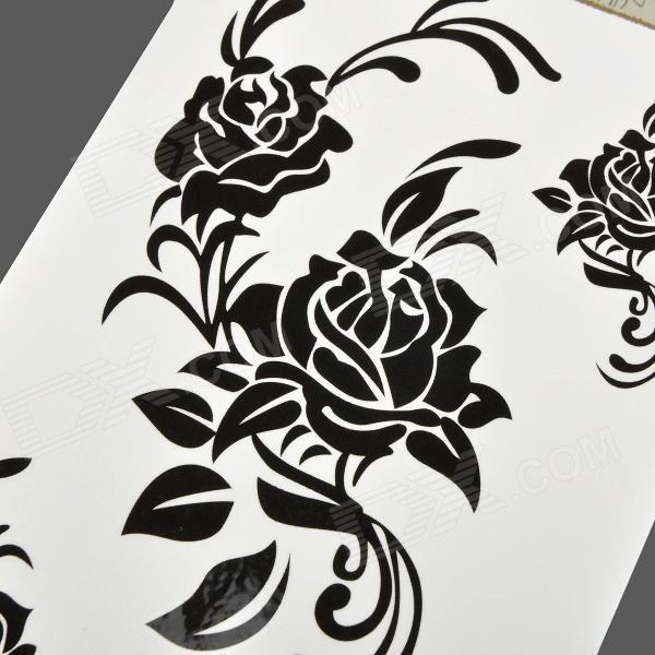 Hm273 rose pattern tattoo paper sticker black free for Printable tattoo paper