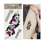 HM323 Skull with Rose Pattern Tattoo Paper Sticker - Black