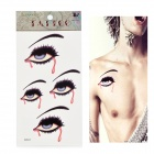 HM507 Bleeding Eye Pattern Tattoo Paper Sticker - Black + Red