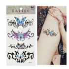 HM156 Butterfly Pattern Tattoo Paper Sticker - Blue + Black