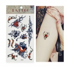 HM468 Rose with Thorns Pattern Tattoo Paper Sticker - Black + Red