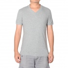 Fashion Mannes V Stil Kragen Modal + Cotton Short Sleeve T-Shirt - Grau (Größe XL)