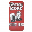 Drinking Beer Pattern Protective PC Hard Back Case for Iphone 4 / 4S - Red + White + Black
