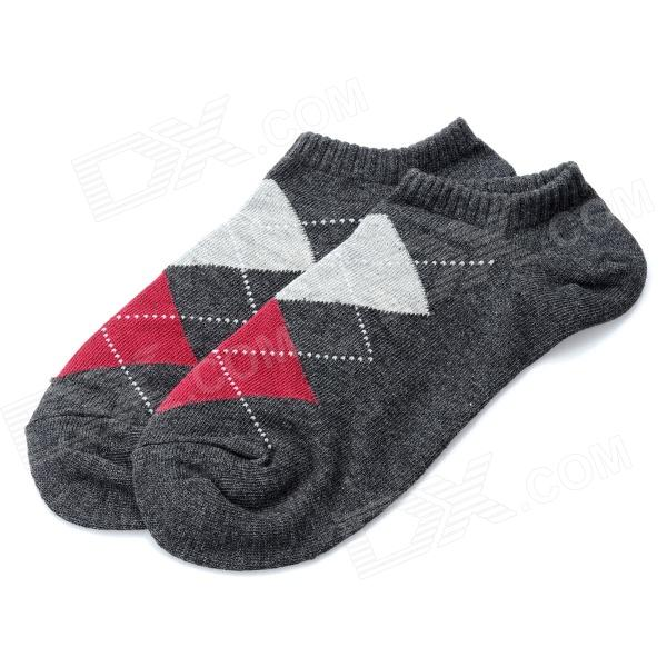 Fashion Man's Grid Pattern Pure Cotton Stockings - Grey + Red (Pair)