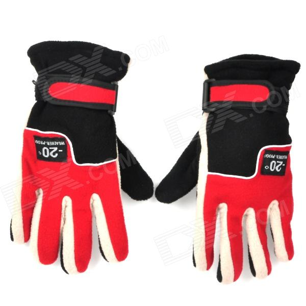 Winter Warm Keeping Fleeces Gloves - Red + Black