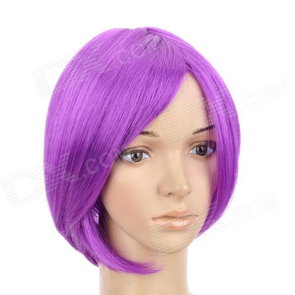 H4590 Haruhi Suzumiya Yuki Nagato Style Cosplay Short Straight Wig - Purple natural look short straight purple ombre wig dark roots cosplay wigs lace front wig exquisite synthetic hair for black woman