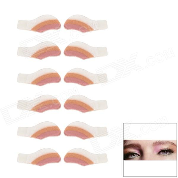 MAXDONA YYT-19 Cosmetic Instant Eye Shadow - Light Coral + Salmon + White (6 Pairs)