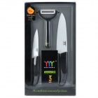 "King Double 4"" + 6"" Chic Chefs Horizontal Ceramic Knife + Peeler Set - Black + White"