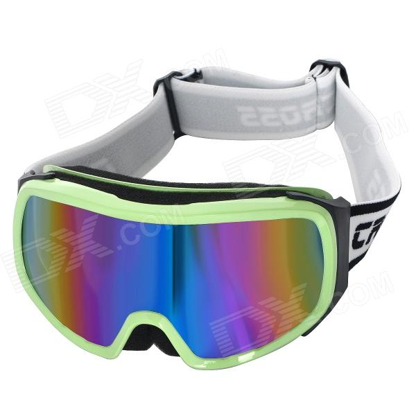 T815-29 Outdoor Sports Dual Layer Lens Skiing Goggles - Green Beige Frame Lewisville Sales of used goods