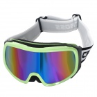 T815-29 Outdoor Sports Dual Layer Lens Skiing Goggles - Green Beige Frame