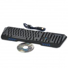 I855 USB Wired Professional 114-Key Gaming Keyboard w/ Blue Backlit - Black (180cm-Cable)