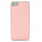 Rhinestone Grid Style Protective Plastic + Electroplating Hard Back Case for Iphone 5 - Pink