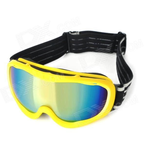 T815-37 Dual Layer Lens Safety Skiing Goggles - Yellow Frame + Orange Coated Grey moon yh616 uv400 dual layer lens safety skiing goggles glasses black red