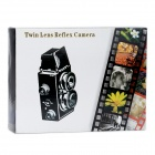 LOMO-001 DIY Assemble Plastic Twin Lens Reflex Camera - White + Black