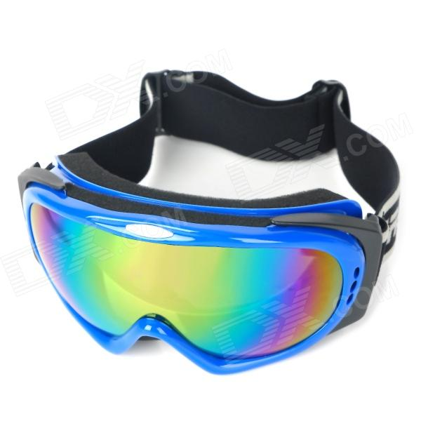 T815-30 Dual Layer Lens Safety Skiing Goggles - Blue Frame + Five Color Coated Grey moon yh616 uv400 dual layer lens safety skiing goggles glasses black red