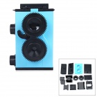LOMO-001 DIY Assemble Plastic Twin Lens Reflex Camera - Blue + Black