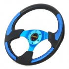 "Universal 13"" PU + Aluminum Car Steering Wheel Set - Black + Blue"
