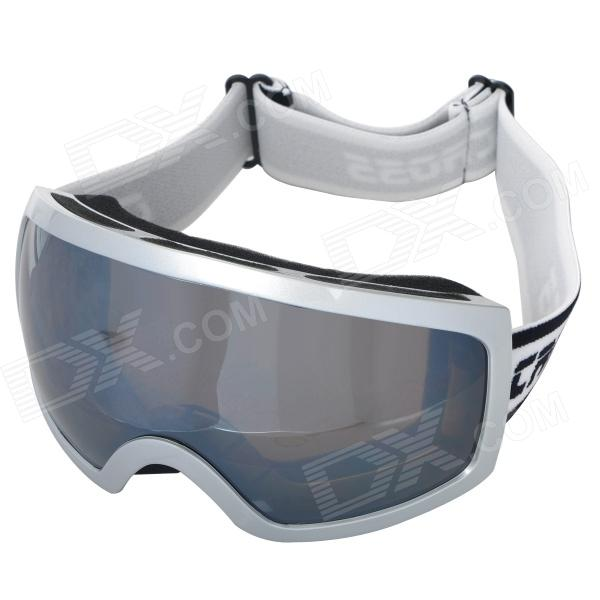 T815-27 Outdoor Sports Dual Layer Lens Skiing Goggles - White Frame + Silver Coated Grey очки nike optics ignition dark magnet grey white max outdoor lens