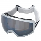 T815-27 Outdoor Sports Dual Layer Lens Skiing Goggles - White Frame + Silver Coated Grey