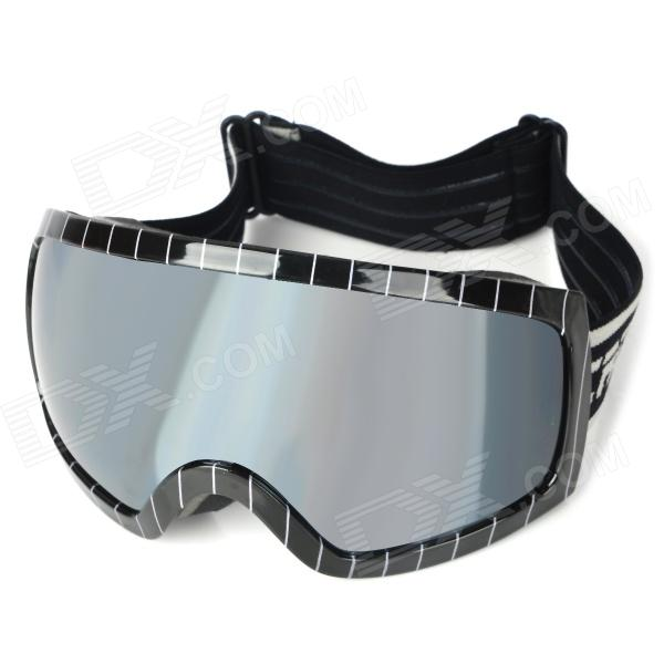 T815-27 Outdoor Sports Dual Layer Lens Skiing Goggles - Black Frame + Silver Coated Tawny - DXGoggles<br>Model: T815-27 - Frame color: Black - Frame material: ABS - Lens material: PC - Dual layer lens design - Lens color: Silver coated tawny - Frame height: 10cm - Lens width: 16cm - Overall width of frame: 17cm - Bridge width: 2.5cm - 100% UV resistant anti-fog shock resistance - Provides best comfort with surround sponge pads - Adjustable elastic strap for ideal fit - Great for outdoor sports activities<br>