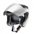 IBK Open Face Motorcycle Outdoor Sports Racing Helmet - Black + White (Size L)