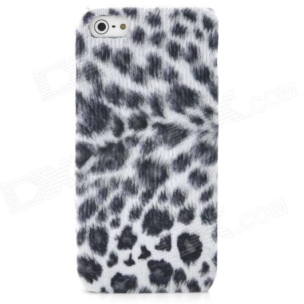 Soft Artificial Leopard Fur Cover Protective Plastic Back Case for Iphone 5 - Grey + White protective silicone soft back case cover for iphone 5 white