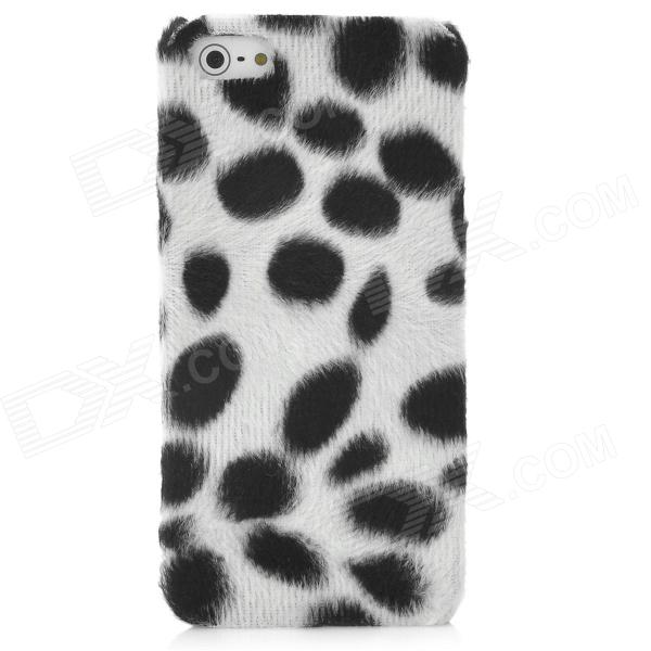 Soft Artificial Dot Fur Cover Protective Plastic Back Case for Iphone 5 - White + Black protective silicone soft back case cover for iphone 5 white