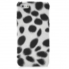 Soft Artificial Dot Fur Cover Protective Plastic Back Case for Iphone 5 - White + Black