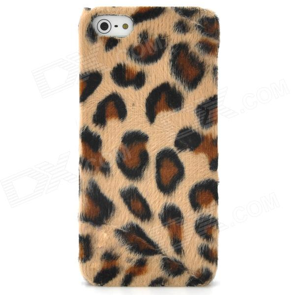 Soft Artificial Leopard Fur Cover Protective Plastic Back Case for Iphone 5 - Brown purple fashionable leopard leather skin hard cover for iphone 5c