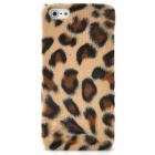 Soft Artificial Leopard Fur Cover Protective Plastic Back Case for Iphone 5 - Brown