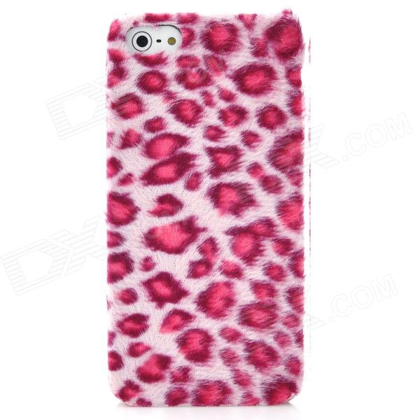 Soft Artificial Leopard Fur Cover Protective Plastic Hard Back Case for Iphone 5 - Pink quote turn your face to the sun metal coated hard case cover for iphone se 5s 5