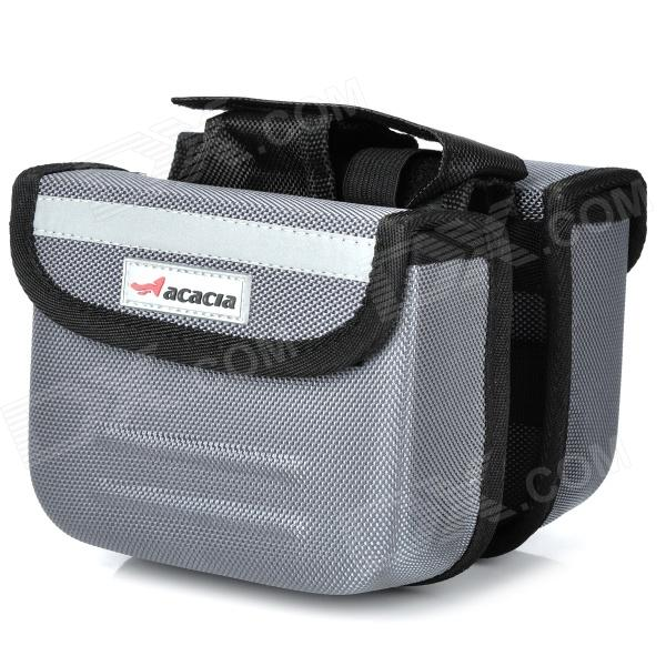 ACACIA Cycling Bicycle Bike Front Tube Bag w/ Rain Cover - Grey