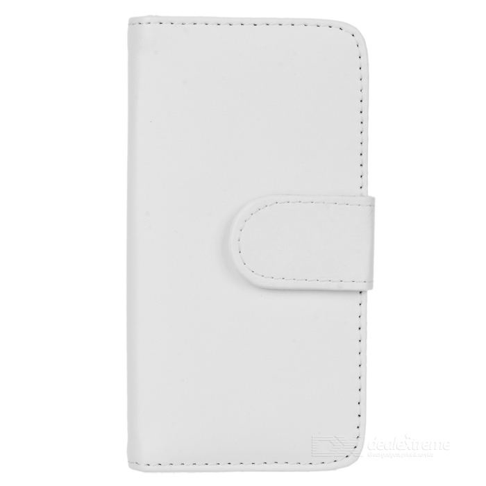Folio-Open Protective PU Leather Cover w/ Plastic Back Case / Card Slots for Iphone 5 - White folio wallet cross texture leather cover case for iphone 7 smile