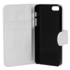 Folio-Open Protective PU Leather Cover w/ Plastic Back Case / Card Slots for Iphone 5 - White