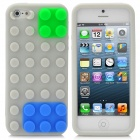 Building Block Style Protective Silicone Soft Back Case for iPhone 5 - Grey + Blue + Green