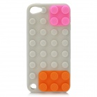 Blocks Stil Protective Silicone Case für iPod Touch 5 - Grey + Orange + Pink