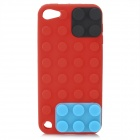 Building Block Style Protective Silicone Soft Back Case for iPod Touch 5 - Red + Blue + Black